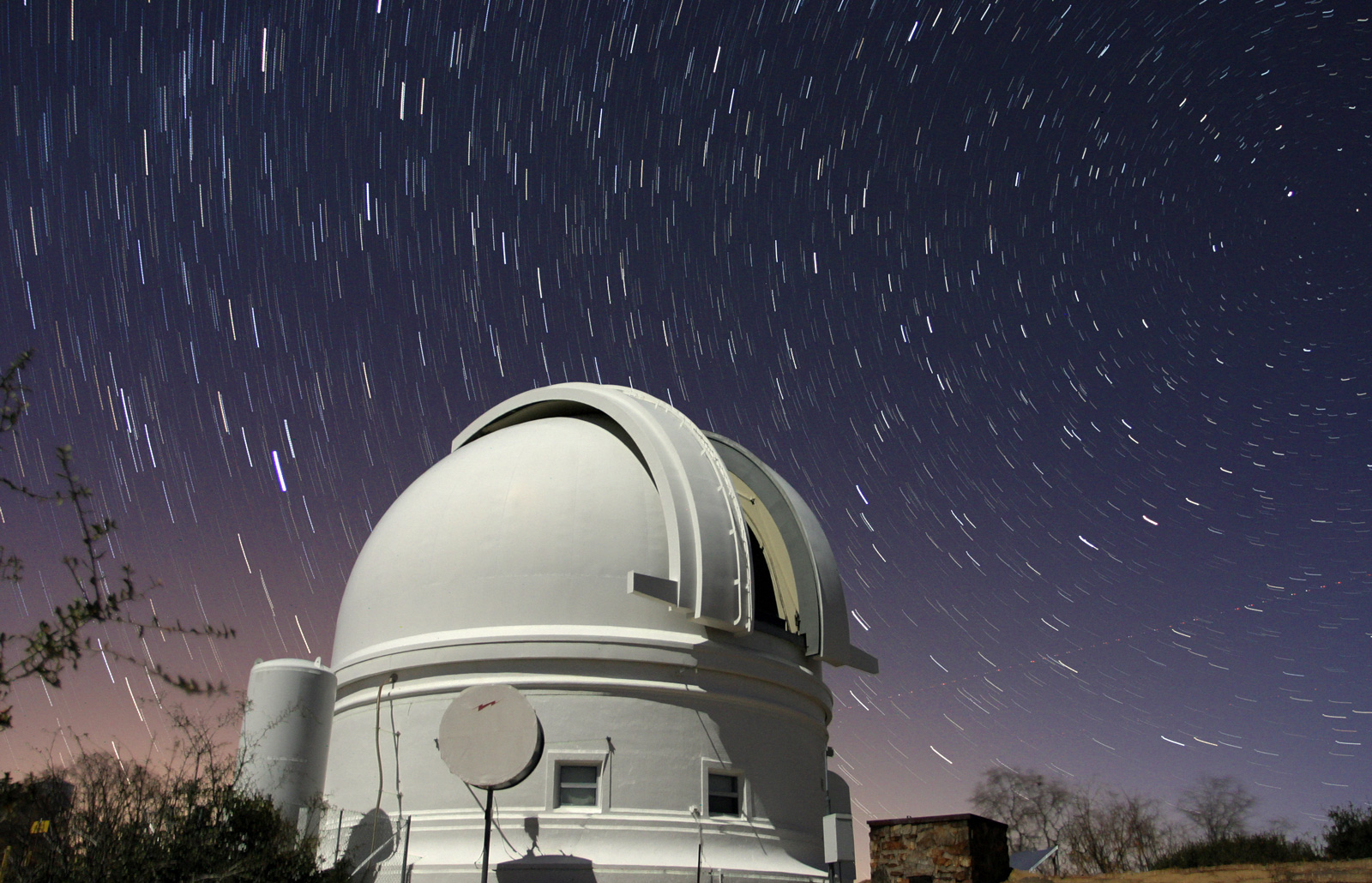 Star trails over Palomar Schmidt Dome